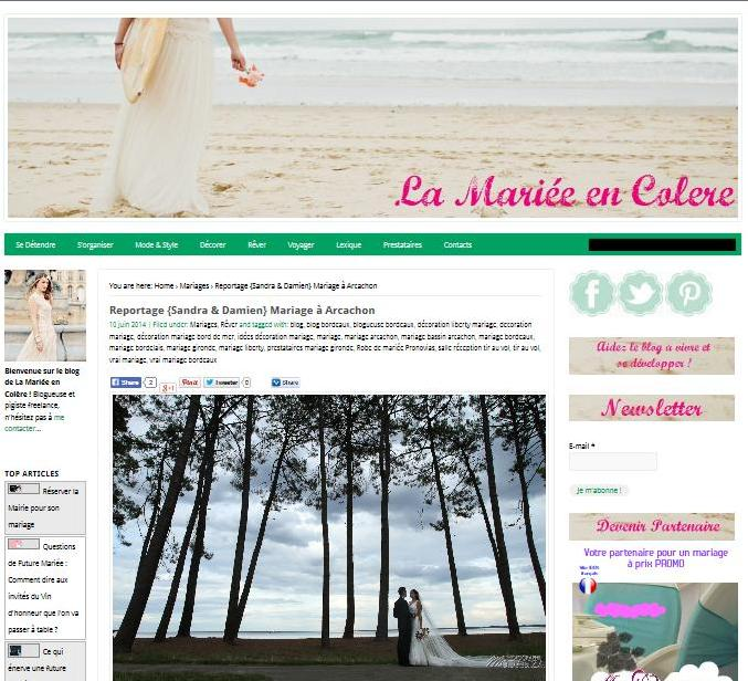 parution reportage mariage bassin arcachon modaliza photographe blog mariée en colere