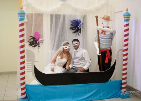 photobooth photomathon portrait venise masques animation vin d\u0027honneur  cocktail theme voyage turquoise parme blanc