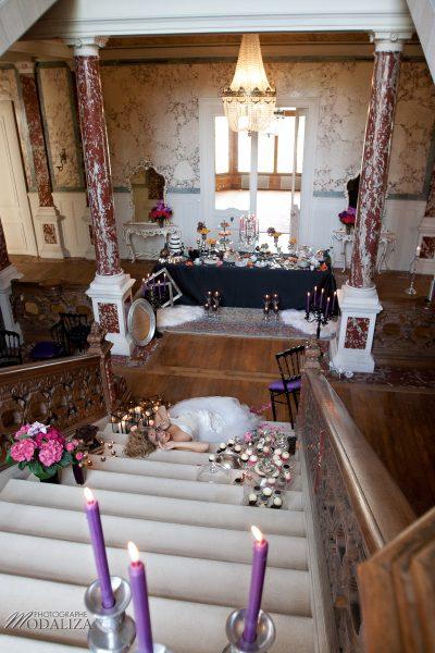 photo mode inspiration mariage decoration argent noir violet wedding bride mariée baroque rock fashion chateau grenade castle gironde by modaliza-0511